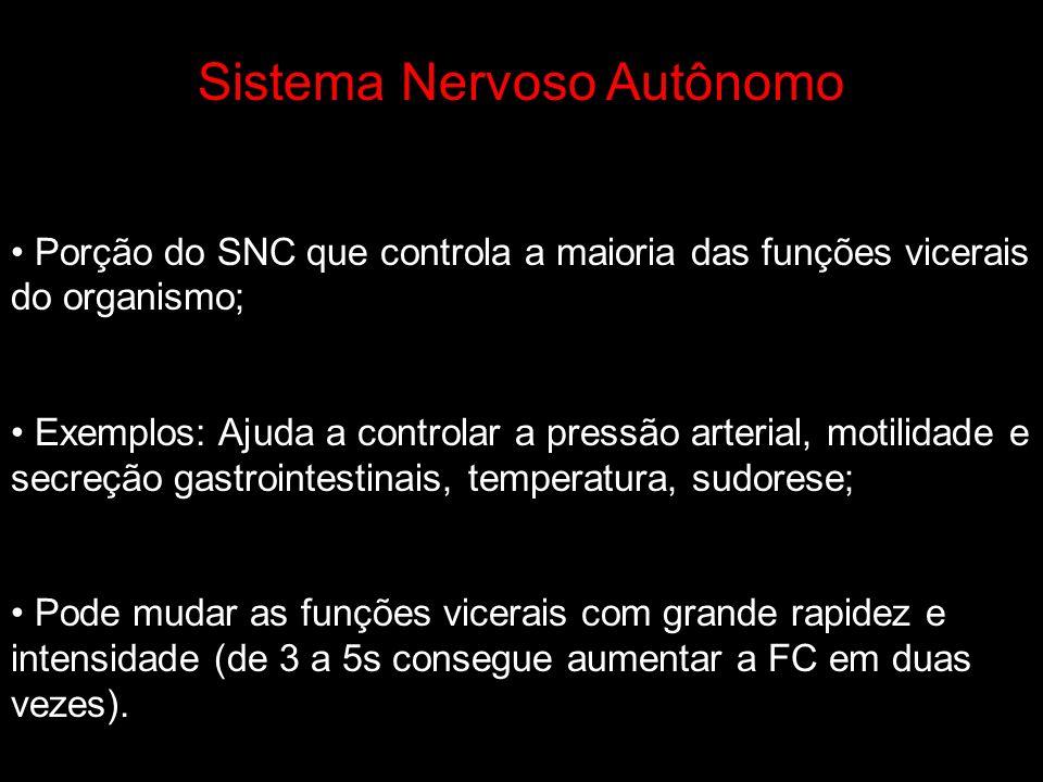Sistema Nervoso Autônomo Porção do SNC que controla a maioria das funções vicerais do organismo; Exemplos: Ajuda a controlar a pressão arterial, motil