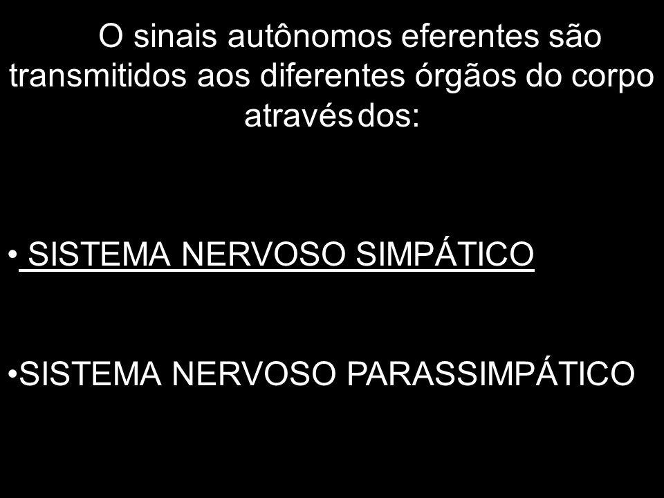O sinais autônomos eferentes são transmitidos aos diferentes órgãos do corpo através dos: SISTEMA NERVOSO SIMPÁTICO SISTEMA NERVOSO PARASSIMPÁTICO