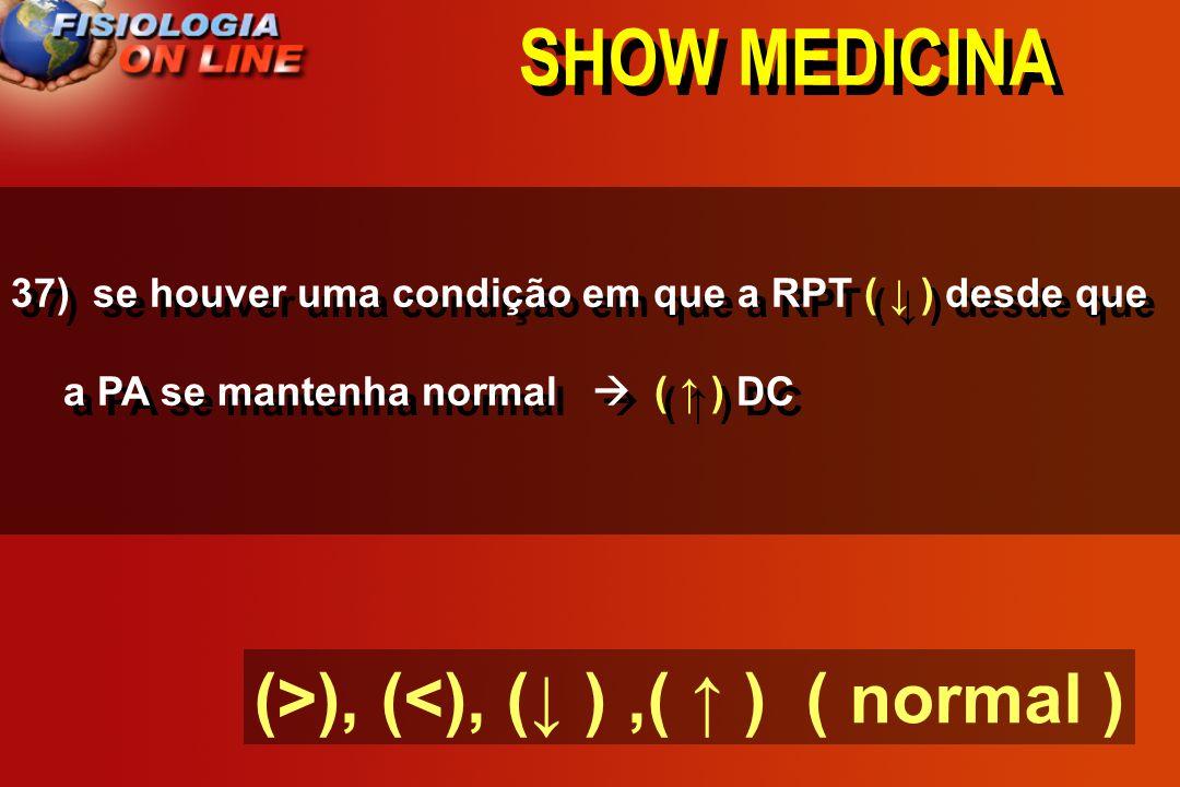 SHOW MEDICINA 37) se houver uma condição em que a RPT ___ desde que a PA se mantenha normal ____ DC
