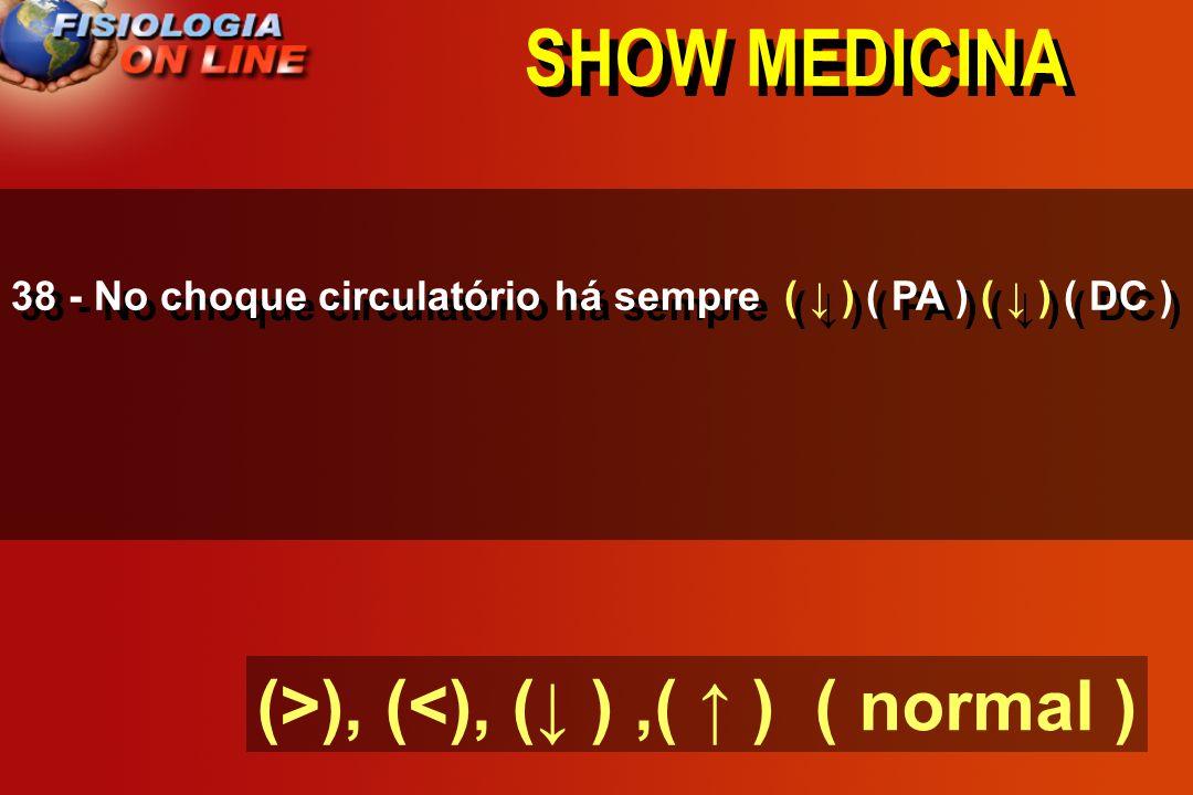 SHOW MEDICINA 38 - No choque circulatório há sempre ___ ( PA ) ___( DC ) (>), (<), ( ),( ) ( normal )