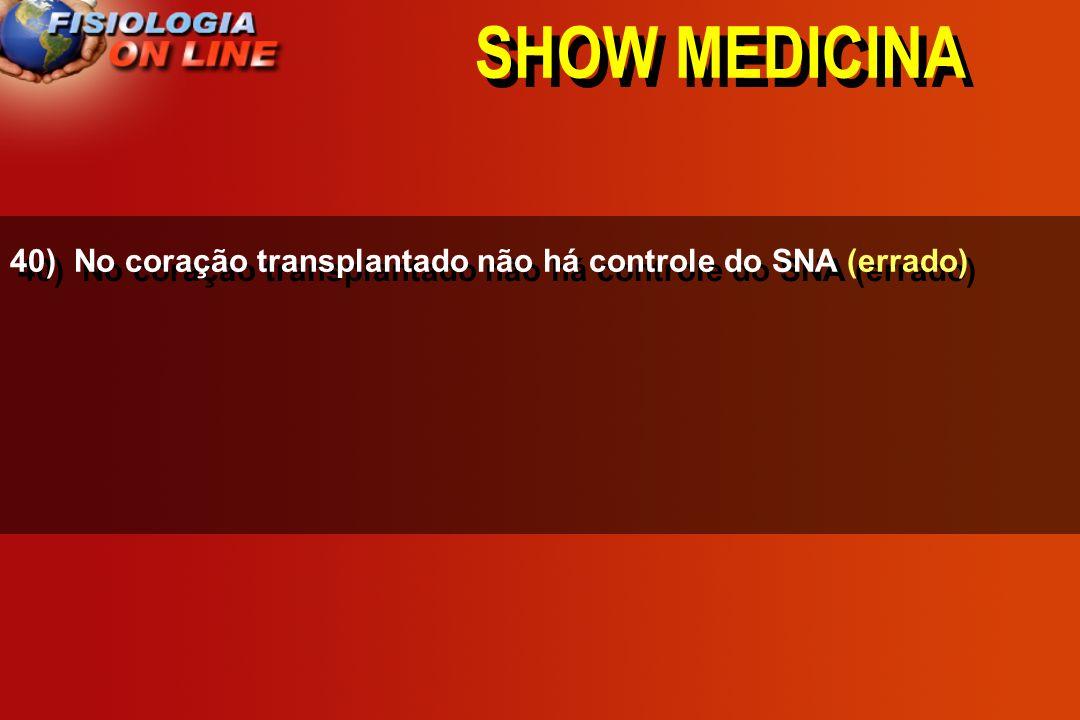 SHOW MEDICINA 40) No coração transplantado não há controle do SNA __________. (correto) (errado)