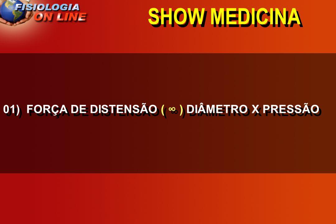 SHOW MEDICINA 01) FORÇA DE DISTENSÃO DIÂMETRO X PRESSÃO >,<, =,, 1/