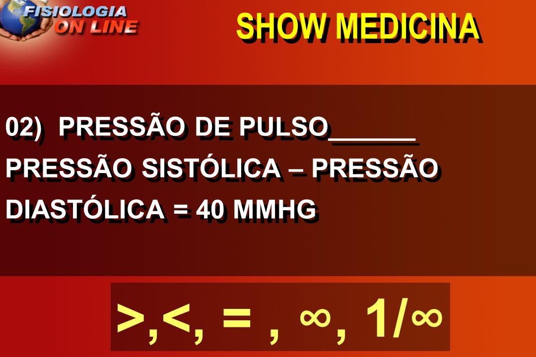 SHOW MEDICINA 01) FORÇA DE DISTENSÃO ( ) DIÂMETRO X PRESSÃO