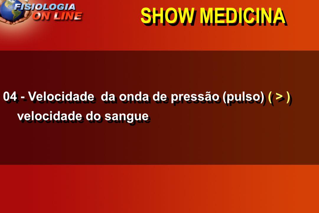 SHOW MEDICINA 04 - Velocidade da onda de pressão (pulso) ____ velocidade do sangue >,<, =,, 1/