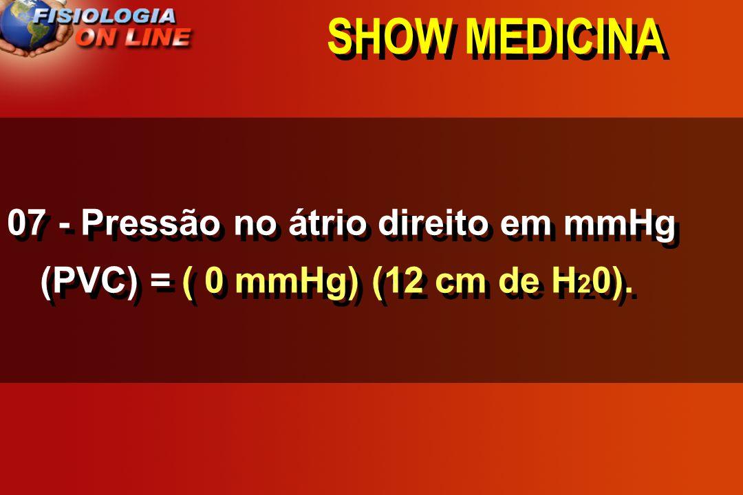 SHOW MEDICINA 07 - Pressão no átrio direito em mmHg (PVC) = ___________. 1, 2, 0, 3, 4