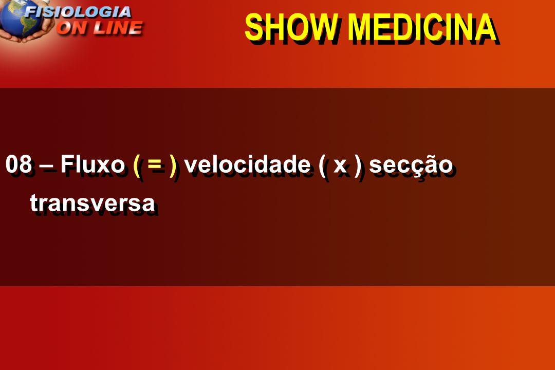SHOW MEDICINA 08 - Fluxo ____ velocidade ( x ) secção transversa >,<, =,, 1/