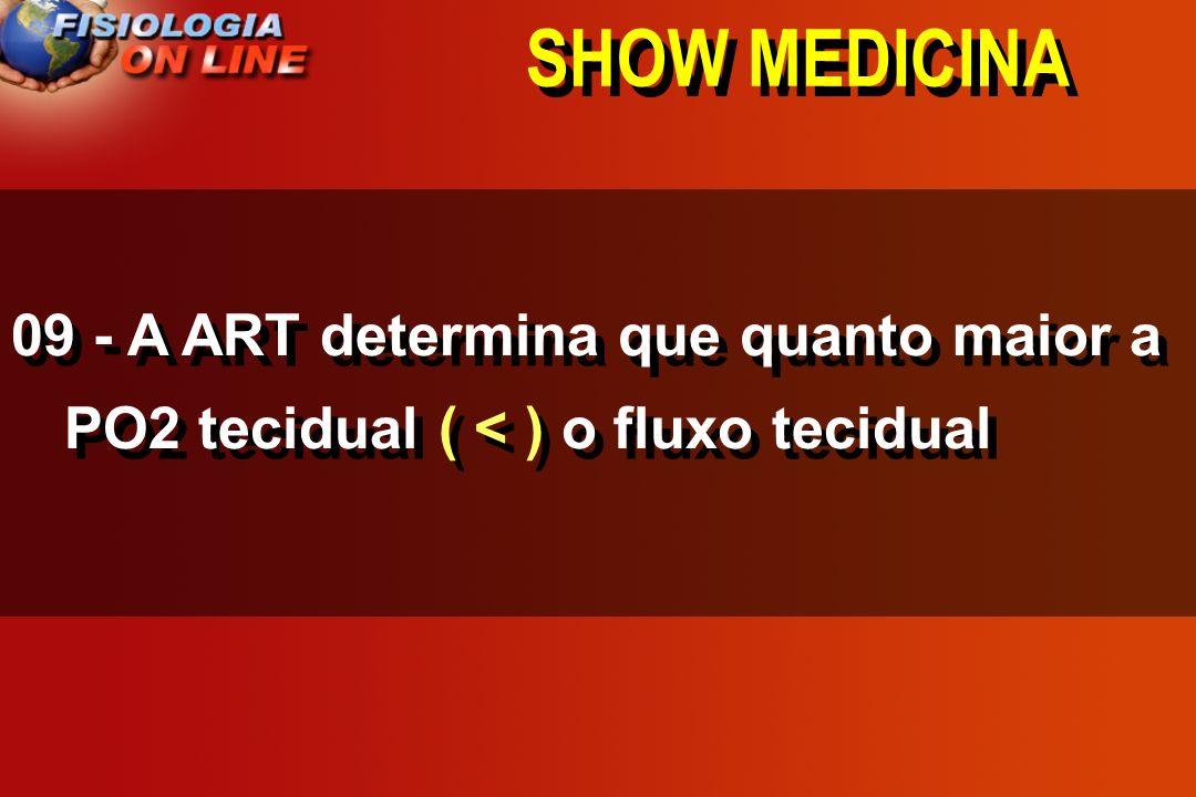 SHOW MEDICINA 09 - A ART determina que quanto maior a PO2 tecidual ____ o fluxo tecidual >,<, =,, 1/