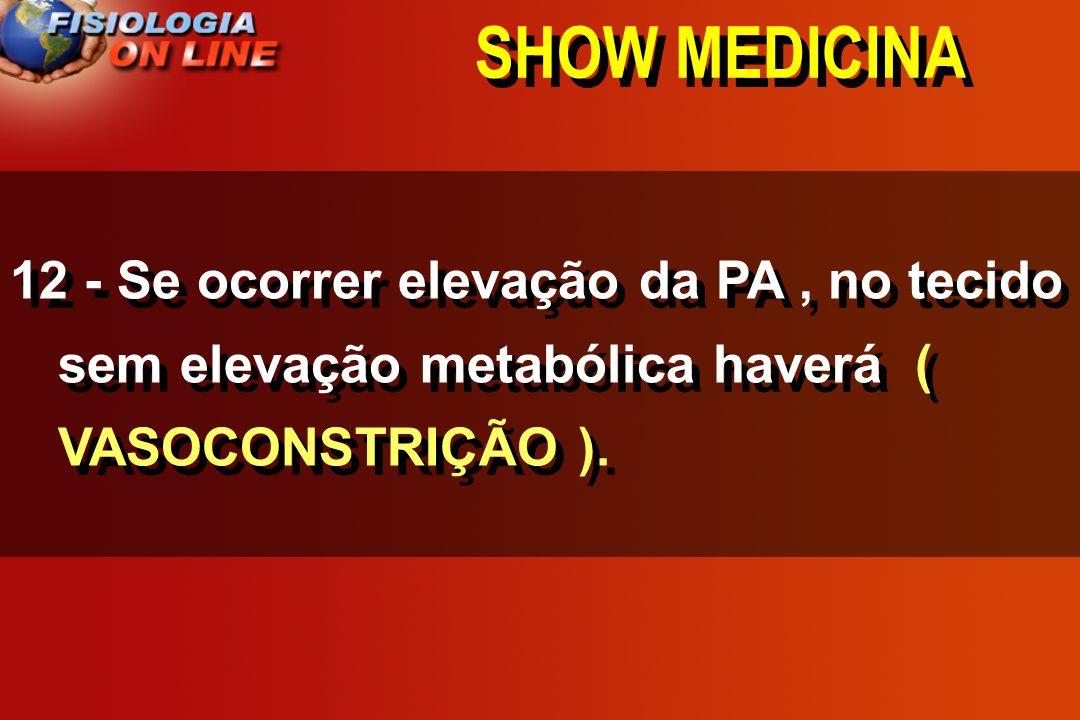 SHOW MEDICINA 12 - Se ocorrer elevação da PA, no tecido sem elevação metabólica haverá _______________________. (VASOCONSTRIÇÃO / VASODILATAÇÃO