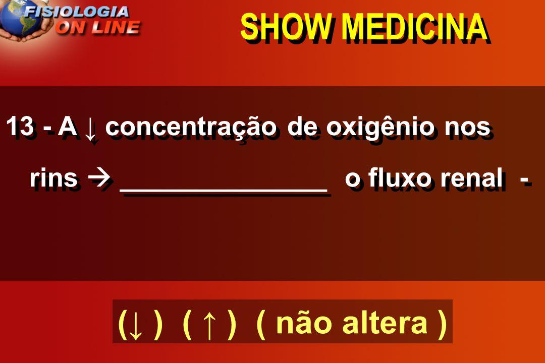 SHOW MEDICINA 12 - Se ocorrer elevação da PA, no tecido sem elevação metabólica haverá ( VASOCONSTRIÇÃO ).