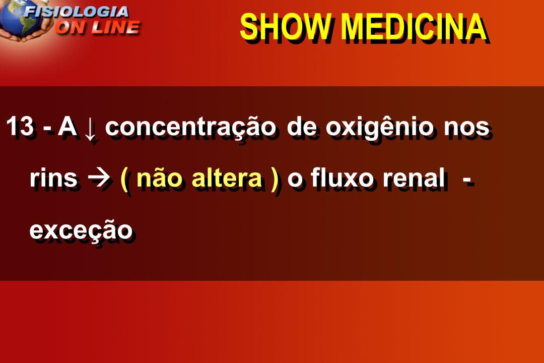 SHOW MEDICINA 13 - A concentração de oxigênio nos rins ______________ o fluxo renal - ( ) ( ) ( não altera )