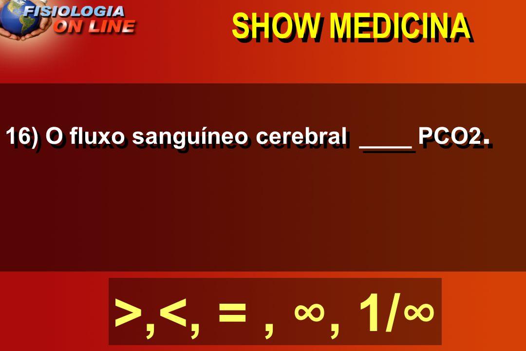 SHOW MEDICINA 15) O fluxo sanguíneo renal aumenta se_______________________. ( Na+) ( K+) ( Na+ ) ( HCO3-)