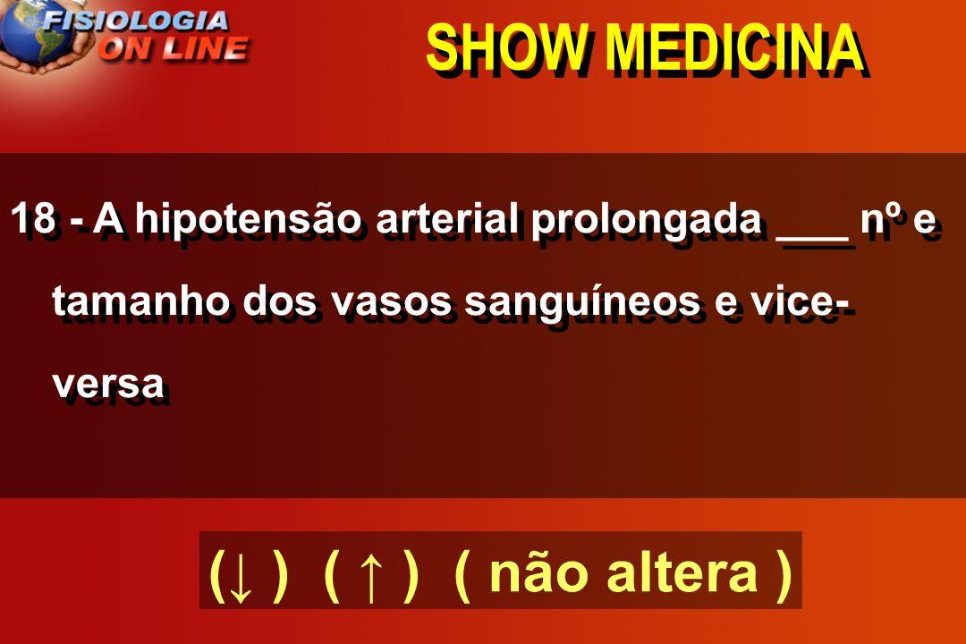 SHOW MEDICINA 17) O aumento do metabolismo tecidual por longo período ( ) a vascularização tecidual e vice- versa