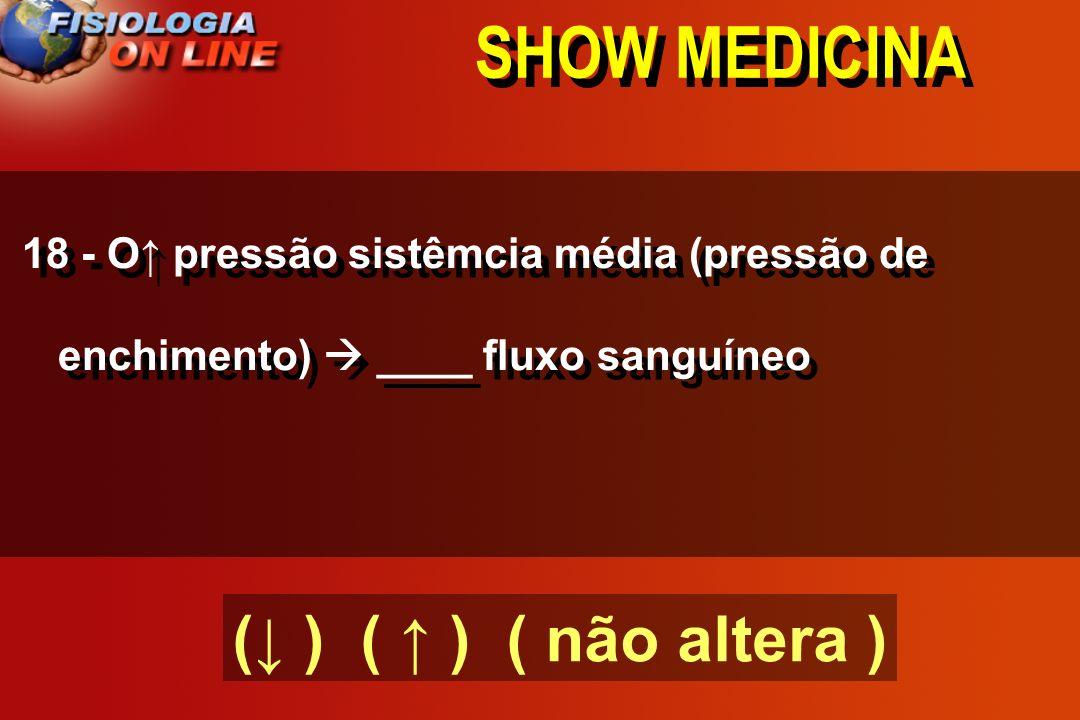 SHOW MEDICINA 18 - A hipotensão arterial prolongada ( ) nº e tamanho dos vasos sanguíneos e vice- versa