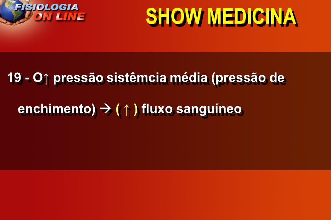 SHOW MEDICINA 19 - O pressão sistêmcia média (pressão de enchimento) _____ fluxo sanguíneo ( ) ( ) ( não altera )