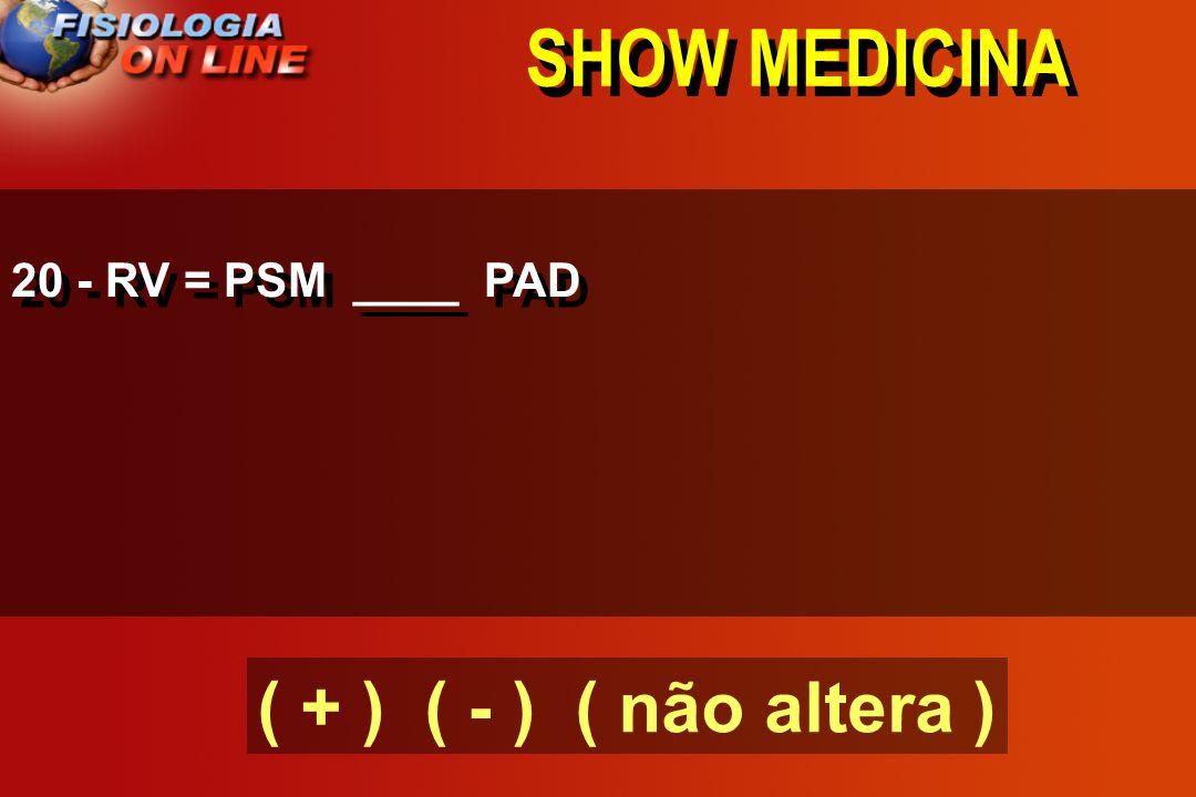 SHOW MEDICINA 19 - O pressão sistêmcia média (pressão de enchimento) ( ) fluxo sanguíneo