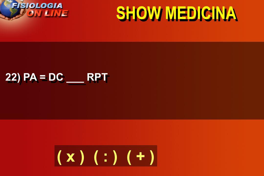 SHOW MEDICINA 21 - INGESTÃO NA+ E H20 ( ) VOL LEC ( ) VOLEMIA ( ) DC E ( ) PA ( ) EXCREÇÃO NA+ E H2O ( ) VOL LEC E PA ( VALORES NORMAIS )