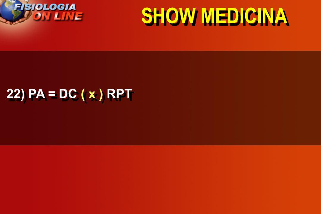 SHOW MEDICINA 22) PA = DC ___ RPT ( x ) ( : ) ( + )