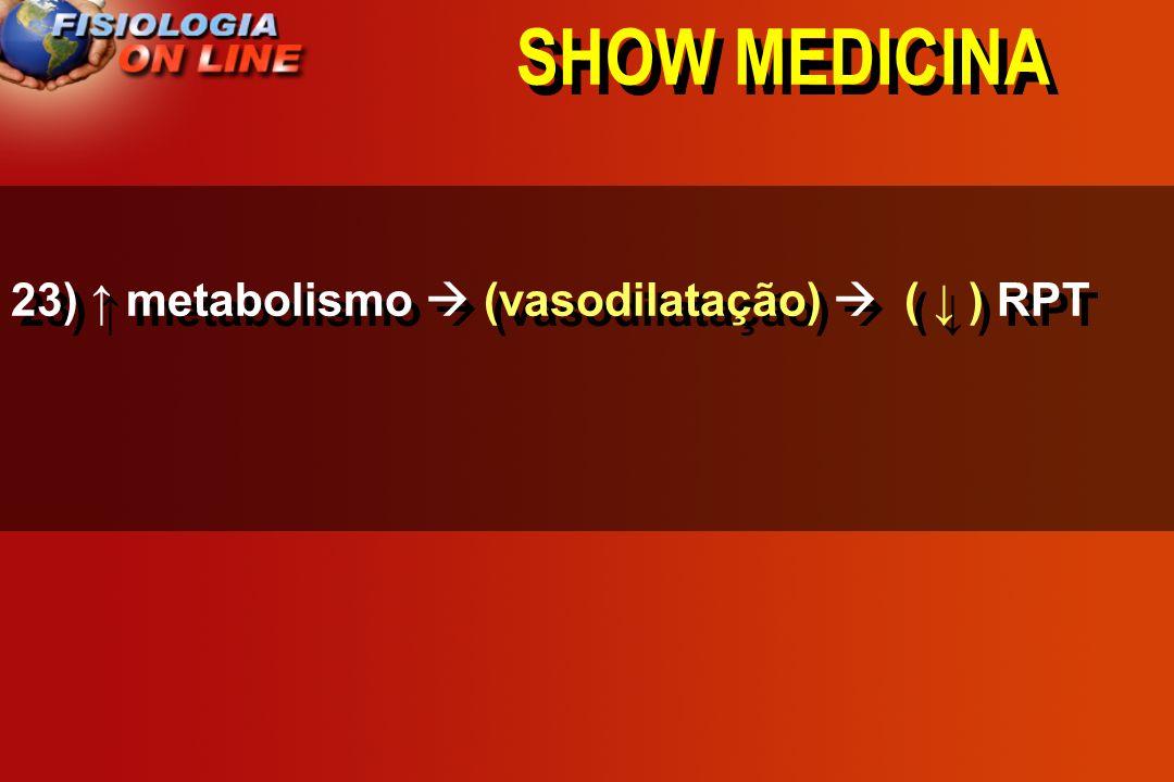 SHOW MEDICINA 23) metabolismo _____________ ____ RPT ( Vasodilatação / Vasoconstrição) ( ) ( ) ( não altera )