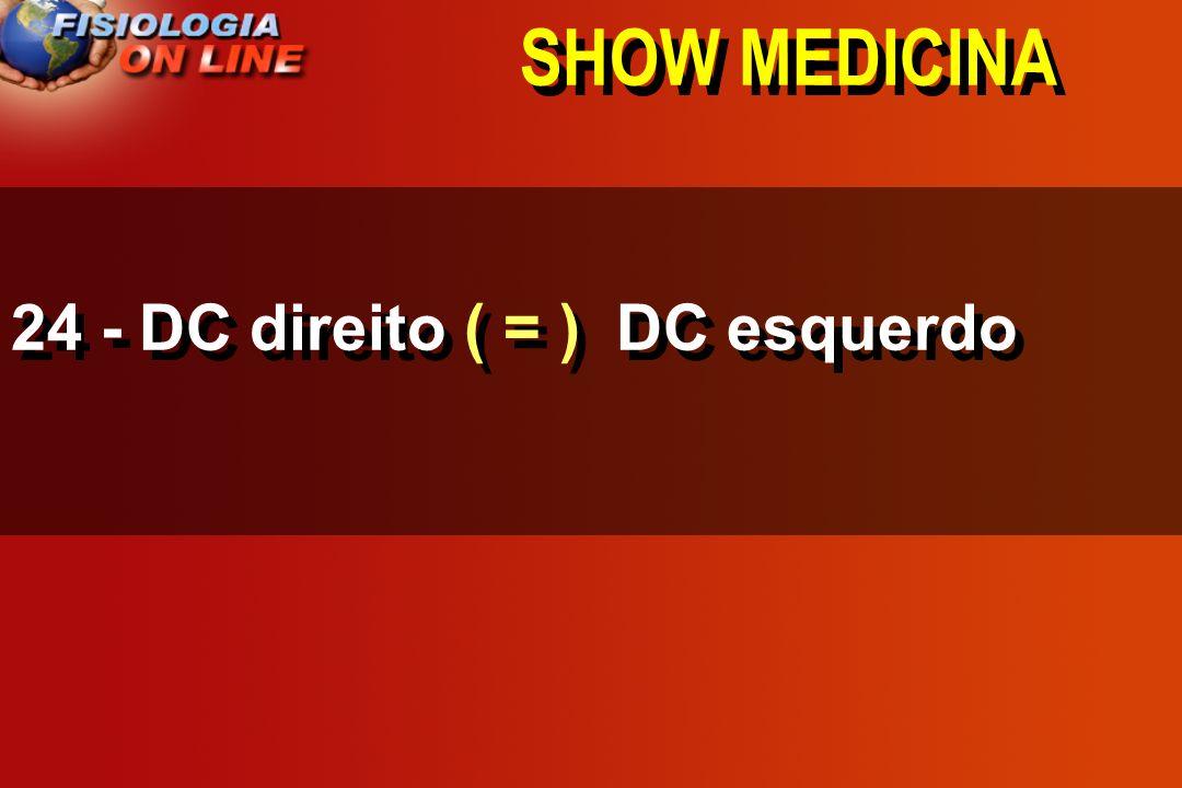 SHOW MEDICINA 24 - DC direito ____ DC esquerdo >,<, =,, 1/