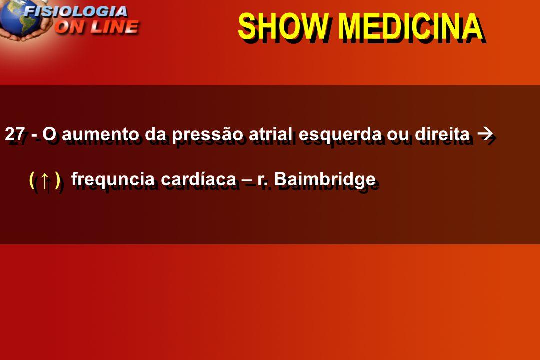 SHOW MEDICINA 27 - O aumento da pressão atrial esquerda ou direita ____ frequncia cardíaca – r. Baimbridge ( ) ( ) ( não altera )
