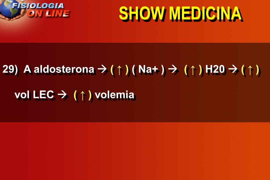 SHOW MEDICINA 29) A aldosterona ___ ( Na+ ) ____ H20 ____ vol LEC _____ volemia. ( ) ( ) ( não altera )