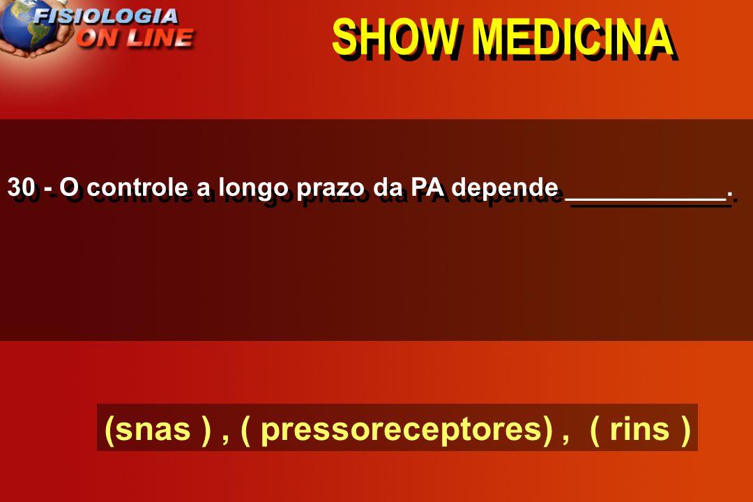 SHOW MEDICINA 29) A aldosterona ( ) ( Na+ ) ( ) H20 ( ) vol LEC ( ) volemia