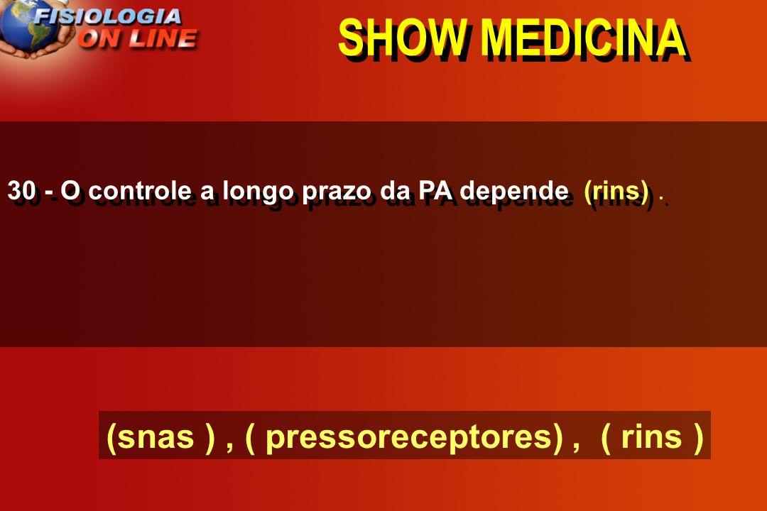 SHOW MEDICINA 30 - O controle a longo prazo da PA depende ___________. (snas ), ( pressoreceptores), ( rins )