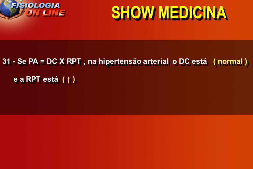 SHOW MEDICINA 31 - Se PA = DC X RPT, na hipertensão arterial o DC está _______ e a RPT está ______. ( ) ( ) ( normal )