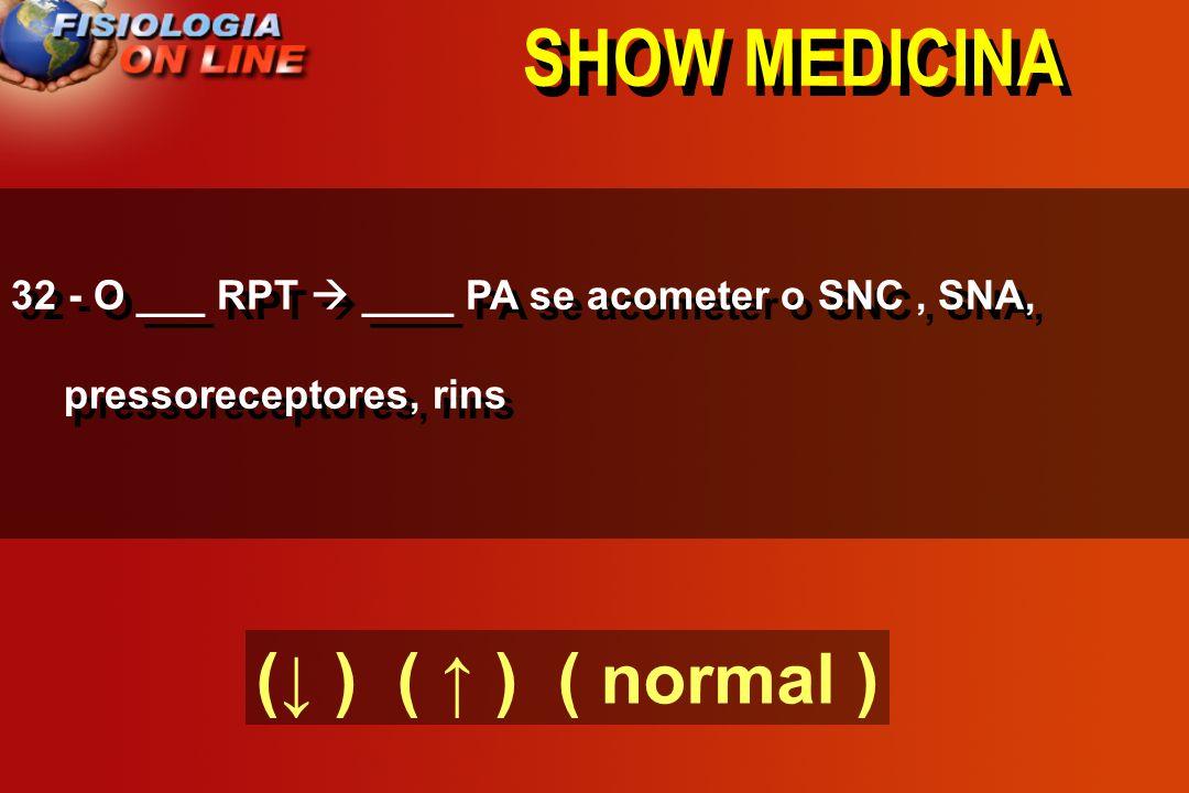 SHOW MEDICINA 31 - Se PA = DC X RPT, na hipertensão arterial o DC está ( normal ) e a RPT está ( )