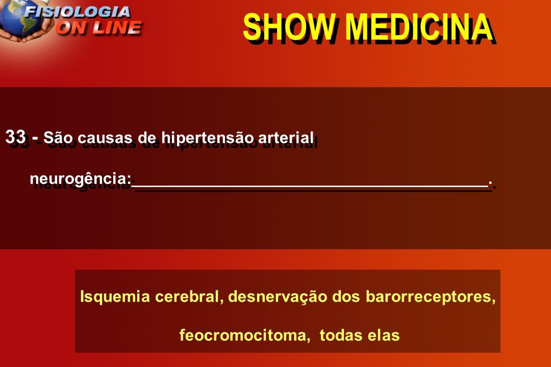 SHOW MEDICINA 32 - O ( ) RPT ( ) PA se acometer o SNC, SNA, pressoreceptores, rins