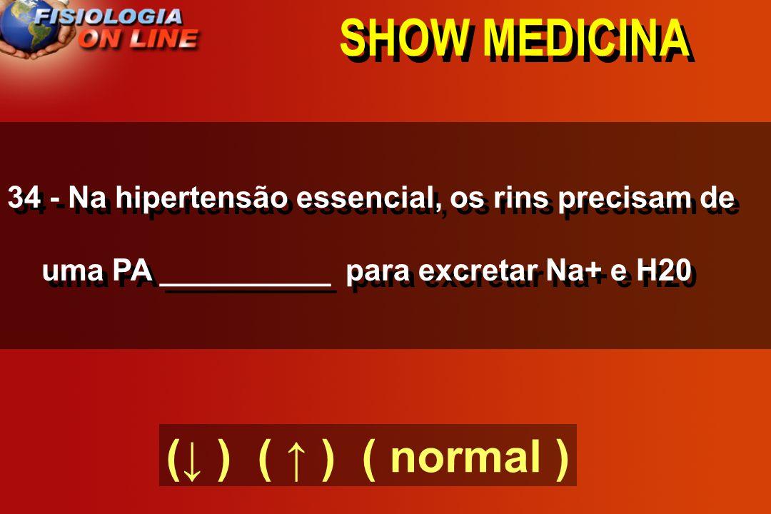 SHOW MEDICINA 34 - Na hipertensão essencial, os rins precisam de uma PA __________ para excretar Na+ e H20 ( ) ( ) ( normal )