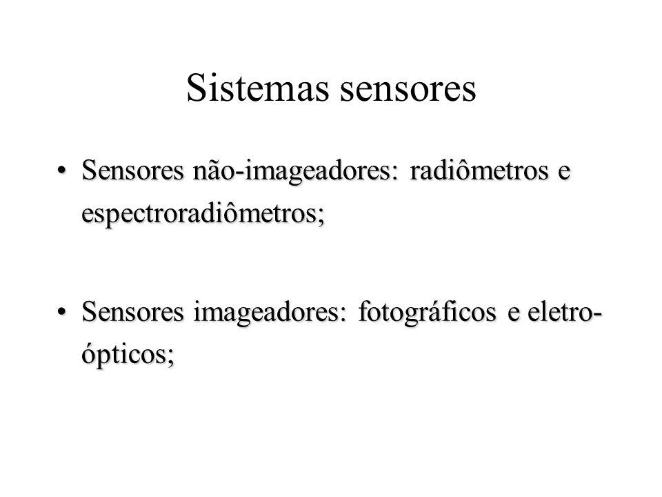 Sistemas sensores Sensores não-imageadores: radiômetros e espectroradiômetros;Sensores não-imageadores: radiômetros e espectroradiômetros; Sensores im
