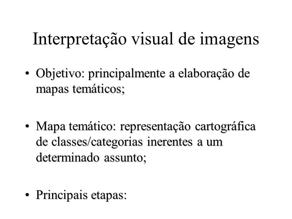 Interpretação visual de imagens Objetivo: principalmente a elaboração de mapas temáticos;Objetivo: principalmente a elaboração de mapas temáticos; Map