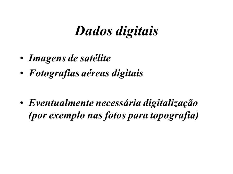 Dados digitais Imagens de satélite Fotografias aéreas digitais Eventualmente necessária digitalização (por exemplo nas fotos para topografia)