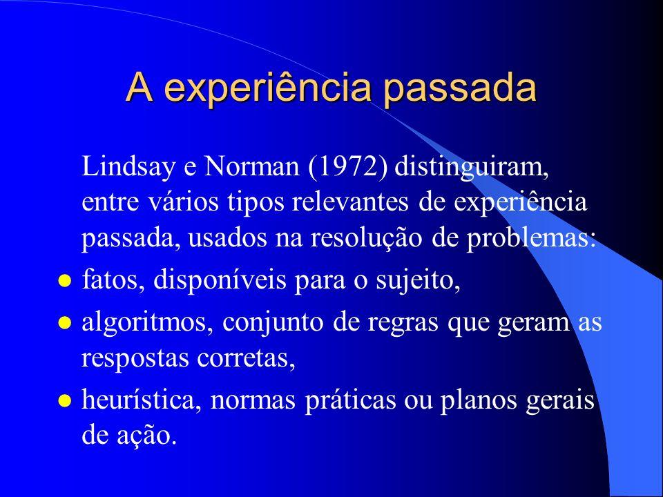 A experiência passada Lindsay e Norman (1972) distinguiram, entre vários tipos relevantes de experiência passada, usados na resolução de problemas: l
