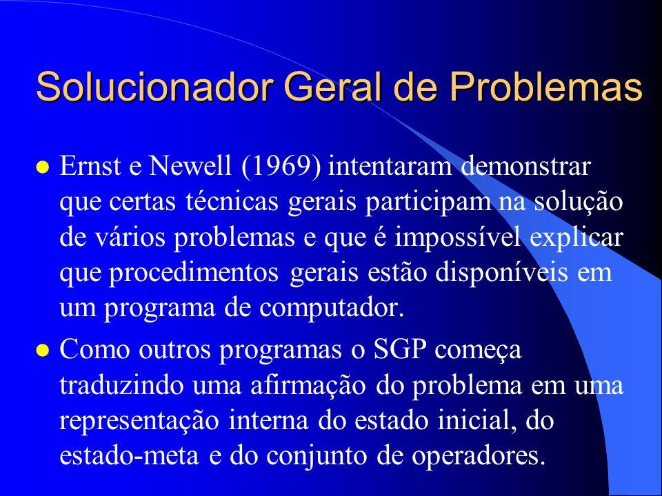 Solucionador Geral de Problemas l Ernst e Newell (1969) intentaram demonstrar que certas técnicas gerais participam na solução de vários problemas e q