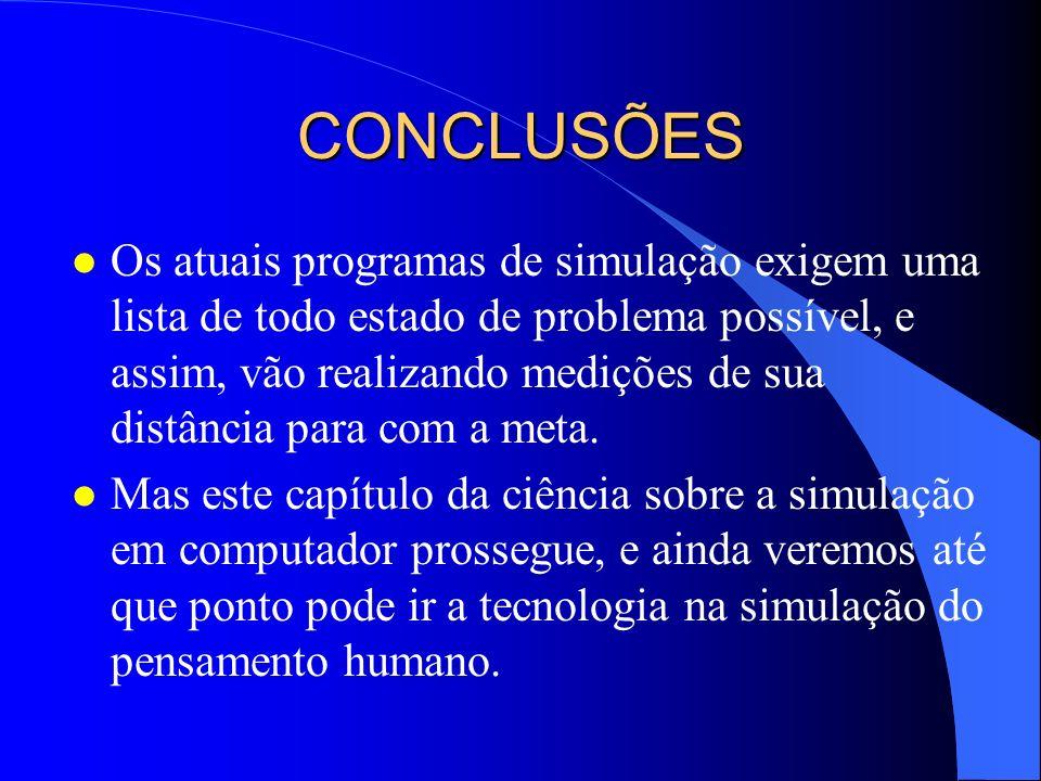 CONCLUSÕES l Os atuais programas de simulação exigem uma lista de todo estado de problema possível, e assim, vão realizando medições de sua distância
