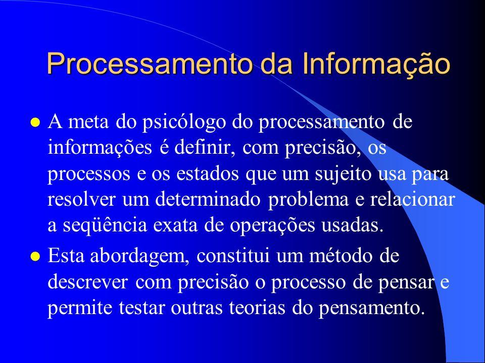 Processamento da Informação l A meta do psicólogo do processamento de informações é definir, com precisão, os processos e os estados que um sujeito us