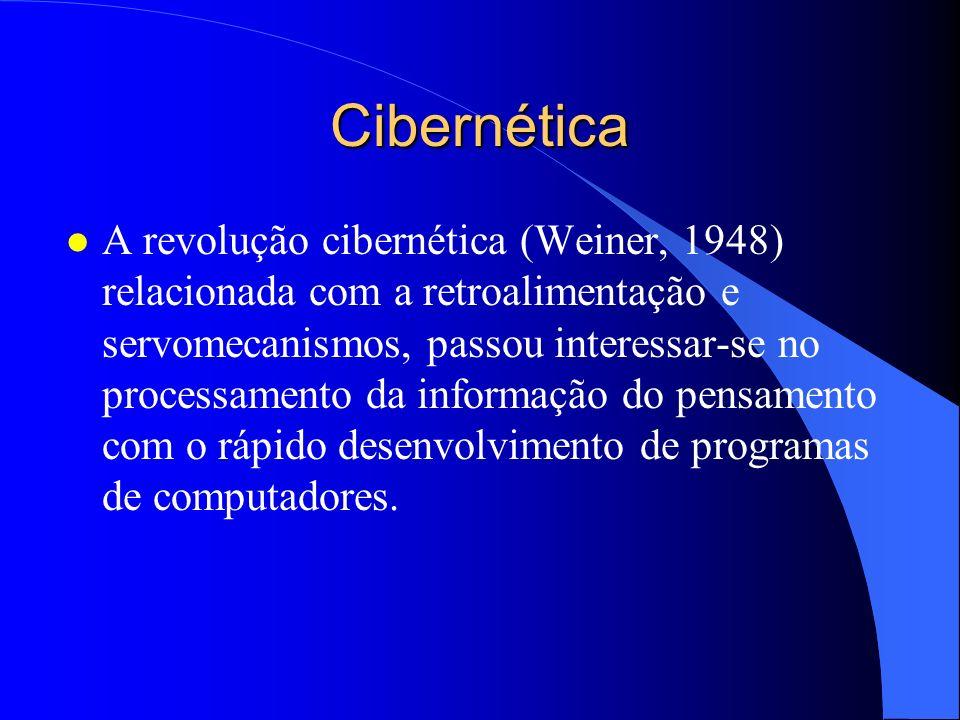 Cibernética l A revolução cibernética (Weiner, 1948) relacionada com a retroalimentação e servomecanismos, passou interessar-se no processamento da in