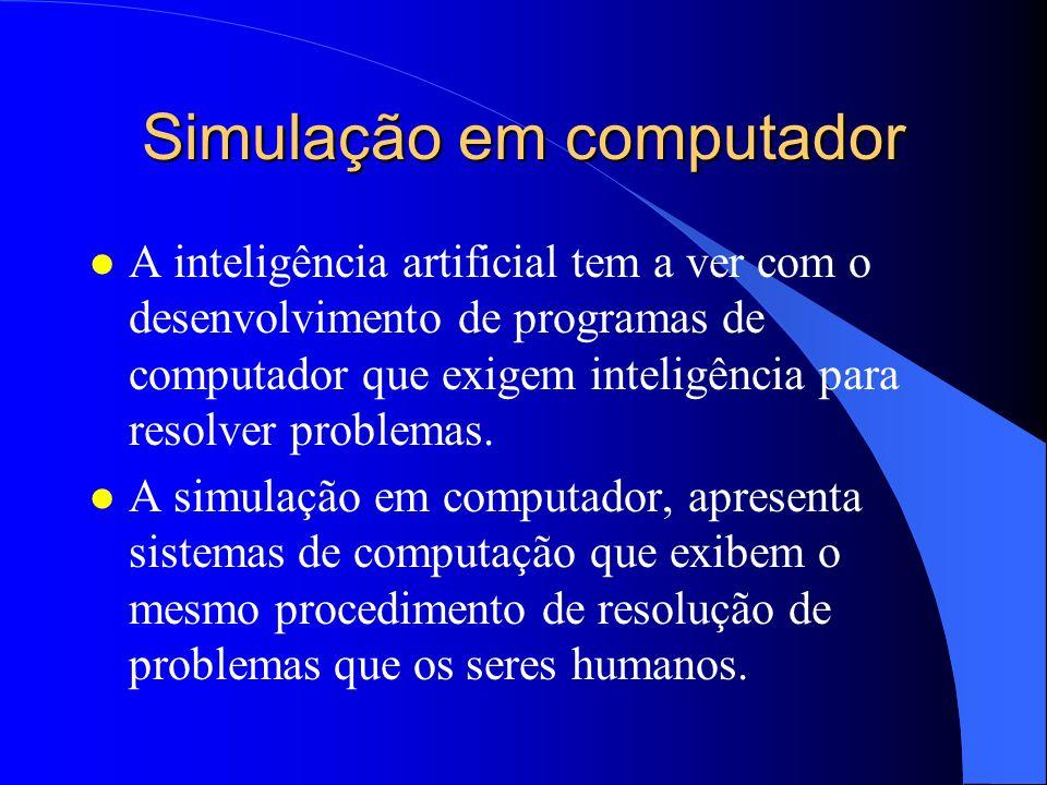 Simulação em computador l A inteligência artificial tem a ver com o desenvolvimento de programas de computador que exigem inteligência para resolver p