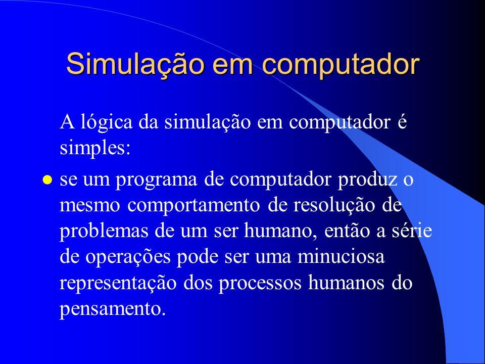 Simulação em computador A lógica da simulação em computador é simples: l se um programa de computador produz o mesmo comportamento de resolução de pro