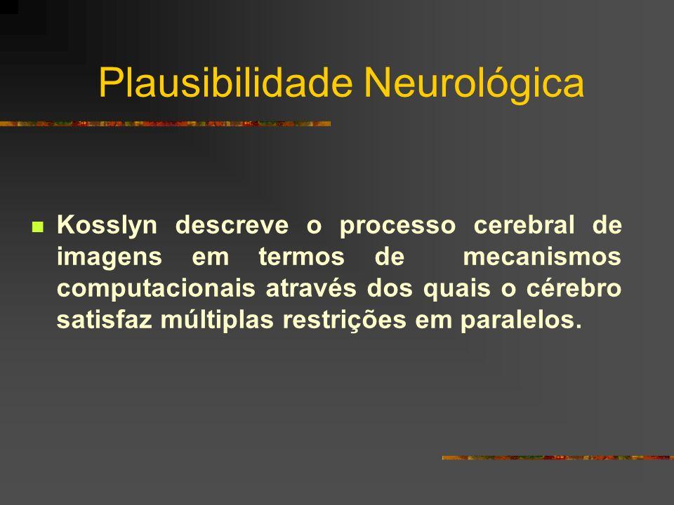 Plausibilidade Neurológica Kosslyn descreve o processo cerebral de imagens em termos de mecanismos computacionais através dos quais o cérebro satisfaz