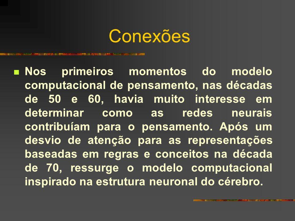 Conexões Nos primeiros momentos do modelo computacional de pensamento, nas décadas de 50 e 60, havia muito interesse em determinar como as redes neura