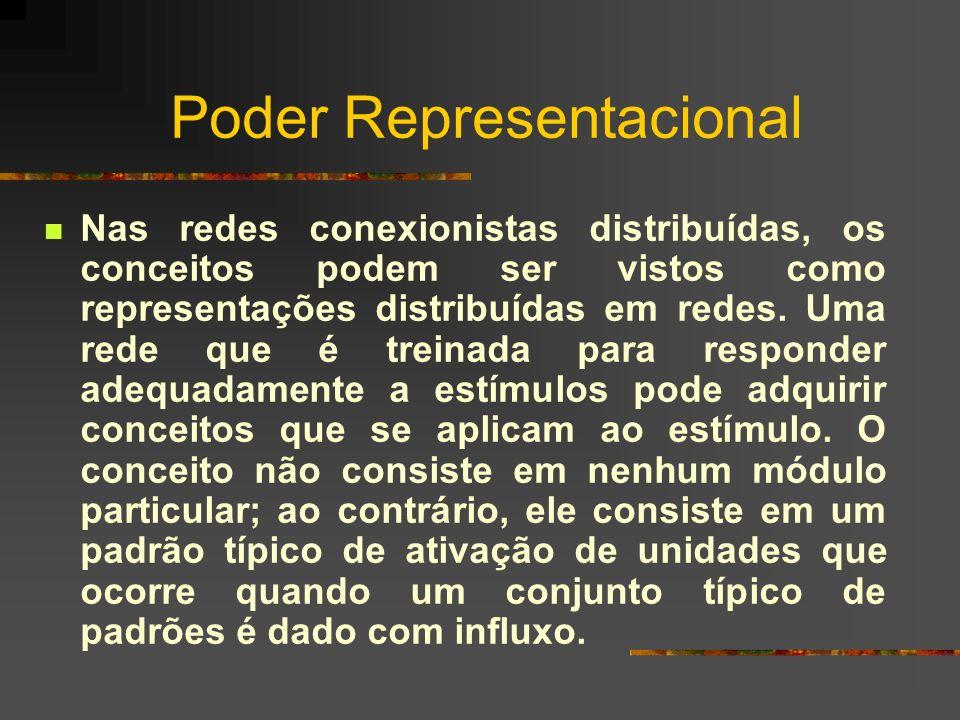 Poder Representacional Nas redes conexionistas distribuídas, os conceitos podem ser vistos como representações distribuídas em redes. Uma rede que é t