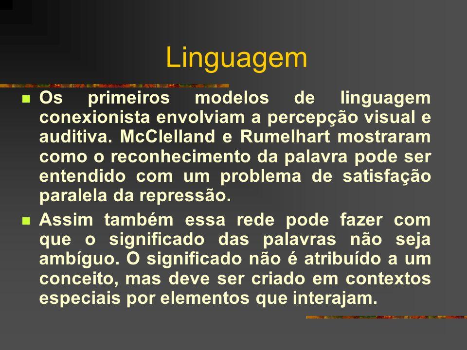 Linguagem Os primeiros modelos de linguagem conexionista envolviam a percepção visual e auditiva. McClelland e Rumelhart mostraram como o reconhecimen