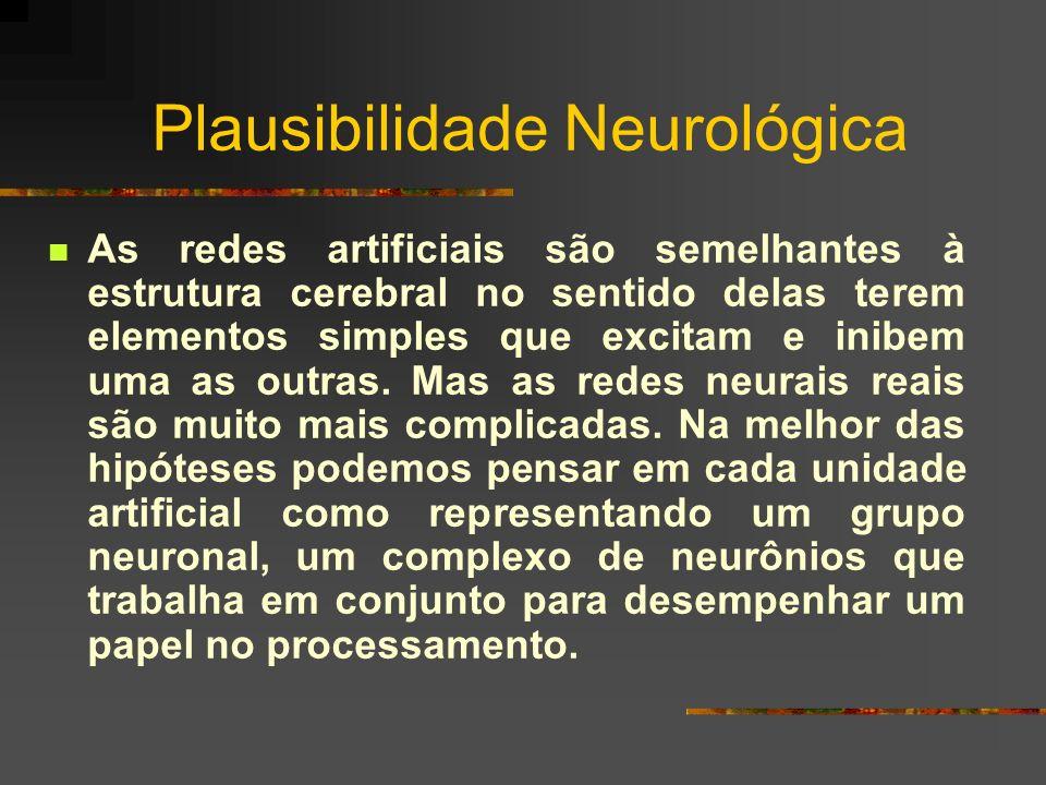 Plausibilidade Neurológica As redes artificiais são semelhantes à estrutura cerebral no sentido delas terem elementos simples que excitam e inibem uma