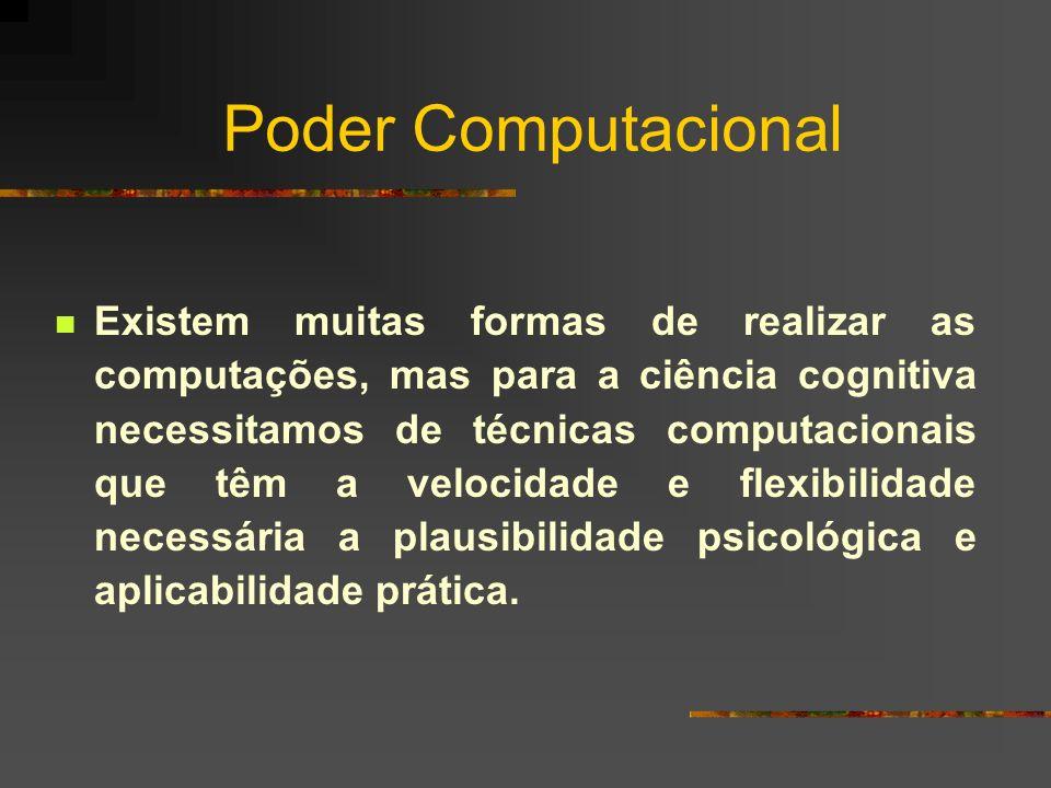 Poder Computacional Existem muitas formas de realizar as computações, mas para a ciência cognitiva necessitamos de técnicas computacionais que têm a v