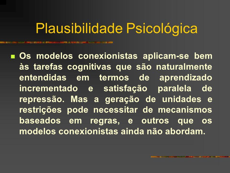 Plausibilidade Psicológica Os modelos conexionistas aplicam-se bem às tarefas cognitivas que são naturalmente entendidas em termos de aprendizado incr