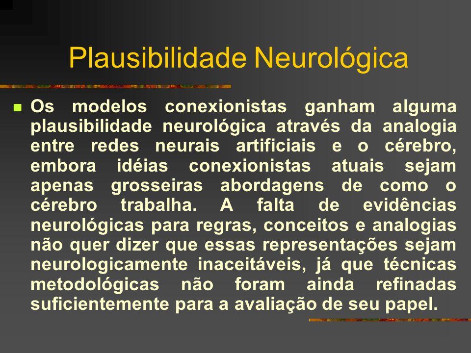 Plausibilidade Neurológica Os modelos conexionistas ganham alguma plausibilidade neurológica através da analogia entre redes neurais artificiais e o c