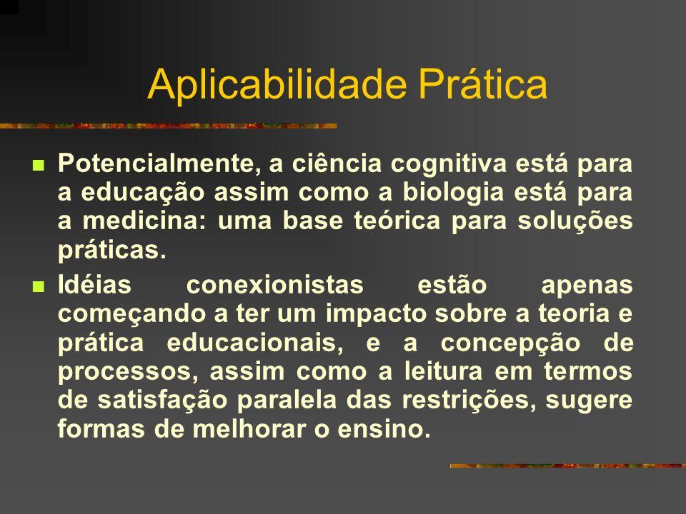 Aplicabilidade Prática Potencialmente, a ciência cognitiva está para a educação assim como a biologia está para a medicina: uma base teórica para solu